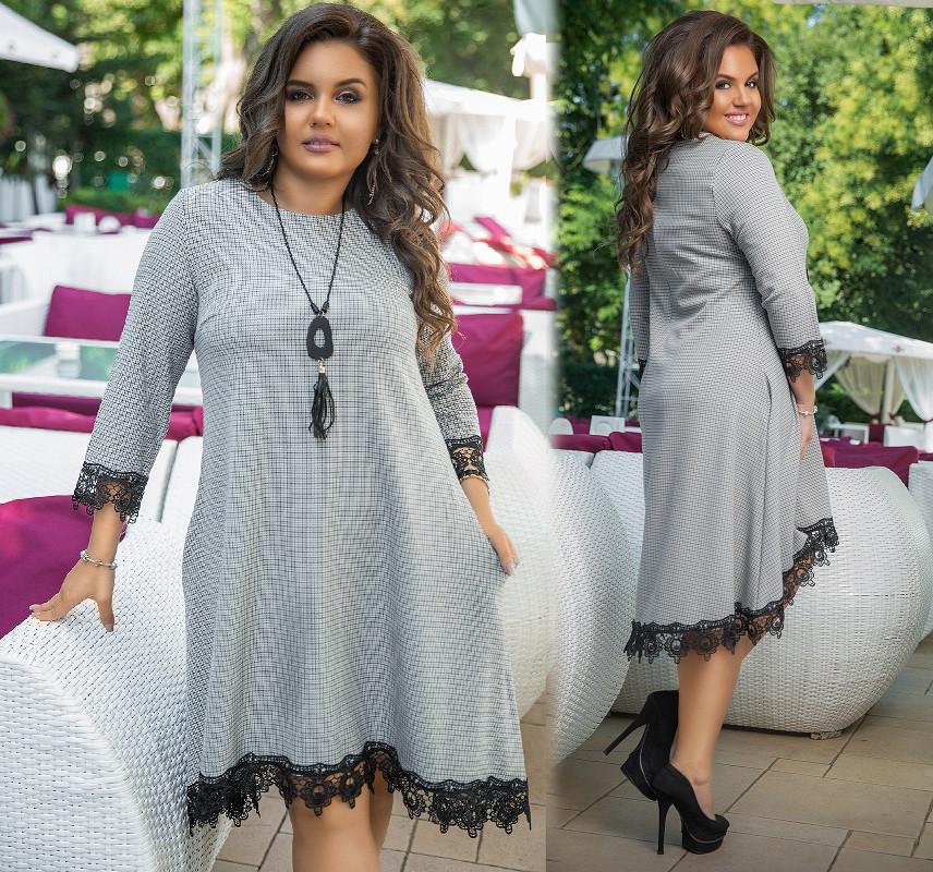 f5a510e3bdf Свободное Платье с Карманами и Кружевом. Светло-серое