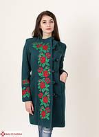 Женское зеленое  демисезонное кашемировое пальто с вышитыми розами.