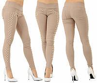 Стрейчевые лосины джинсовые с жемчугом. Бежевые, 3 цвета. Р-ры: 42,44,46.