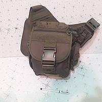 Сумка органайзер армейская мужская 10 л тактическая оливковый коричневый цвет, фото 1