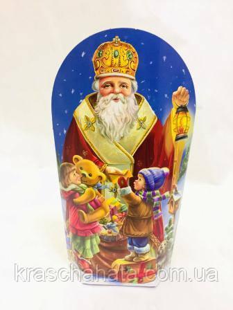 Коробка новогодняя, Святой Николай, 300 гр, Картонная упаковка для конфет, 12х26х6,3 см