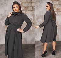 Платье в горошек с поясом и бантом. Чёрное, 4 цвета. Р-ры:48-50,52-54,56-58.