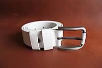 Классический гладкий ремень шириной 40 мм. с пряжкой белого цвета, Артикул СК 9997