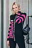 Серая вязаная Спортивная кофта стильная вязаная в полоску 42-48, фото 4