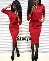 Костюм блузка рукав три четверти юбка миди карандаш, фото 1