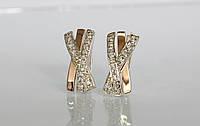 Серебряные серьги с золотой накладкой , фото 1