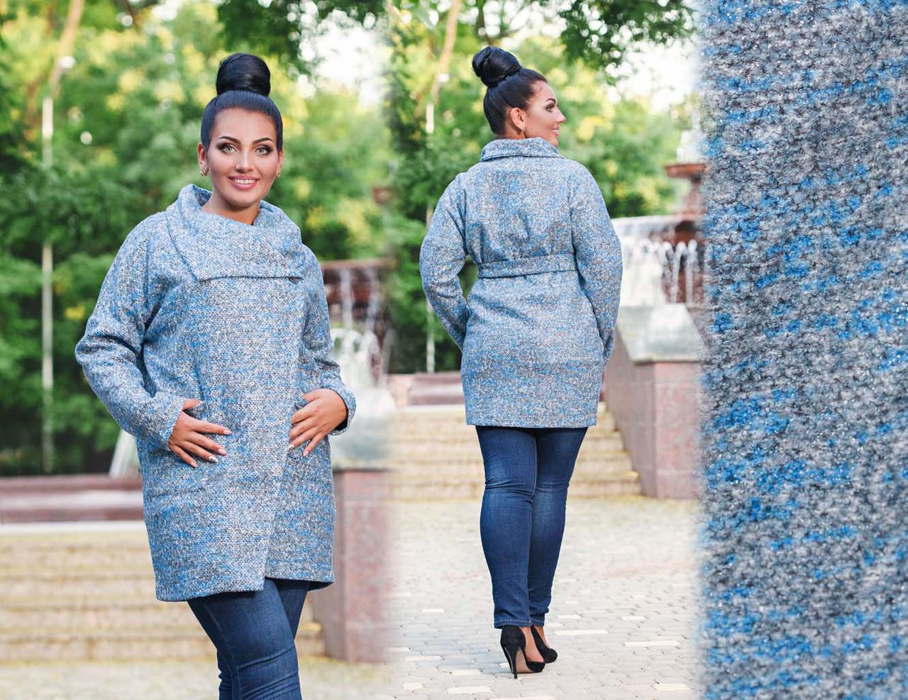 """Женское стильное пальто-кардиган в больших размерах 496 """"Букле Косуха Карманы"""" в расцветках"""
