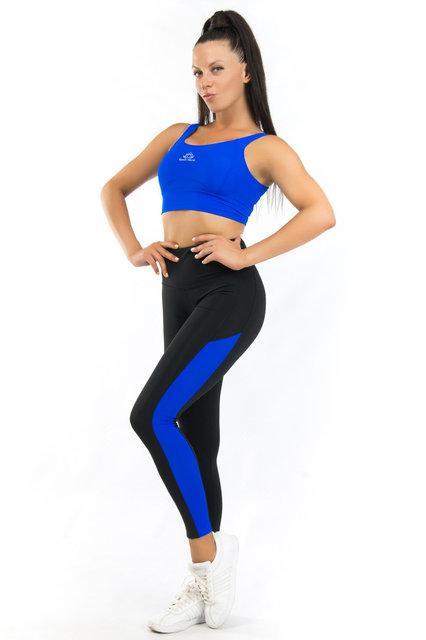 Комплект топ и лосины для спорта (42-44; 44-46; 46-48) (синий) одежда для йоги и фитнеса из бифлекса