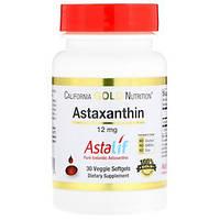 Астаксантин 12 мг 30 капс антиоксиданты для глаз кожи от хеликобактер California Gold Nutrition