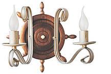 Деревянная люстра Штурвал белый с золотом на 6 ламп, фото 3