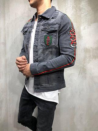 Мужской джинсовый пиджак Gucci темно-серый топ реплика  продажа ... be8de70ce60