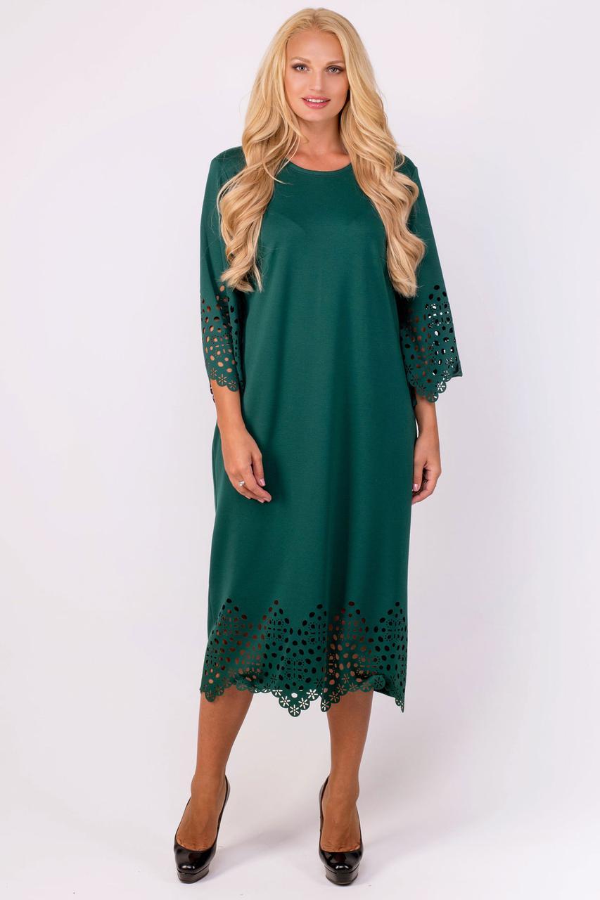 f18dd5c0 Женское платье прямого силуэта с перфорацией Кайла / размер 52 / большие  размеры / цвет зеленый