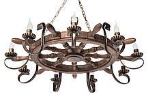 """Люстра из дерева """"Штурвал корабельный трактир"""" на 6 ламп, фото 2"""