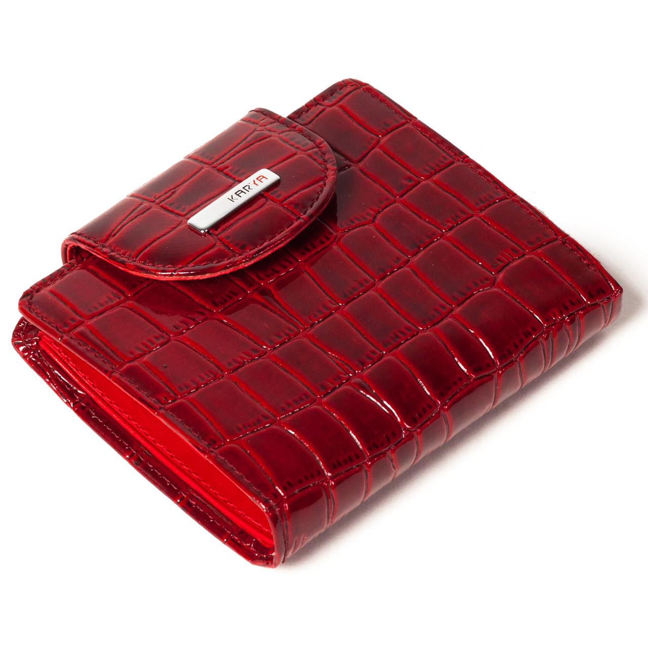 Маленький женский кошелек кожаный красный Karya 1052-08
