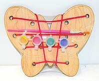 Деревянная игрушка 2в1 Раскраска + Шнуровка Бабочка краски кисточка, Дерев'яна Шнурівка HN01 009432