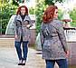 """Женское стильное пальто-кардиган в больших размерах """"Букле Абстракция Косуха Карманы"""", фото 2"""