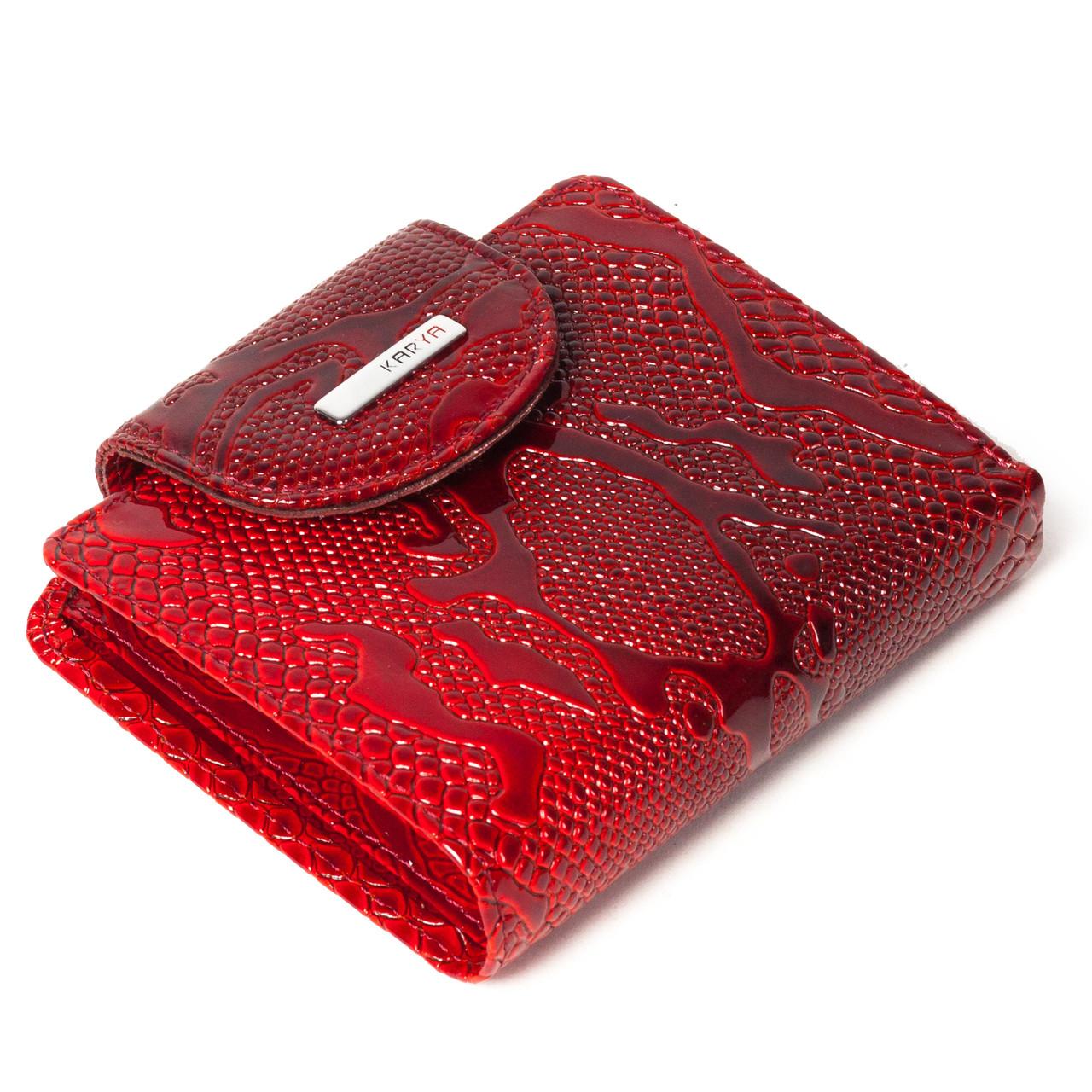 Маленький женский кошелек кожаный красный Karya 1052-019