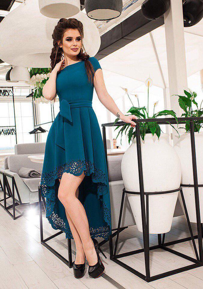 01d656b2f96 Платье Асимметричное с Перфорацией. Изумрудное