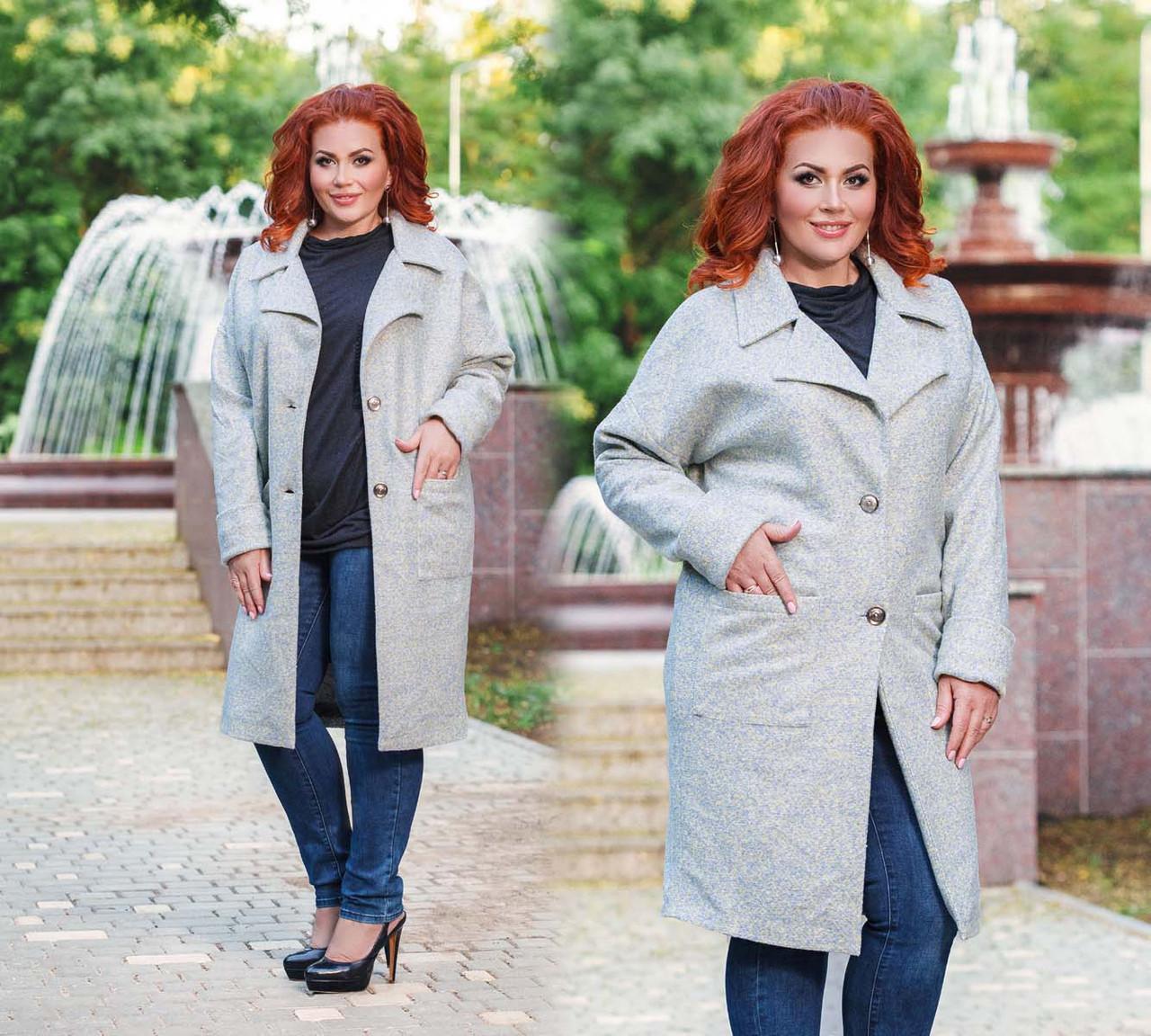 """Элегантное женское пальто демисезон в больших размерах 495 """"Букле Овер Миди"""""""