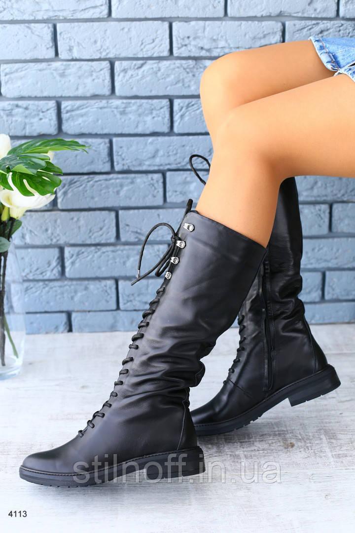 ca852852c Демисезонные женские кожаные сапоги на шнуровке - Интернет-магазин женской  и мужской обуви, одежды