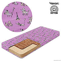 Матрас детский в кроватку кокос-поролон, чехол хлопок, Пудель, цвет розовый