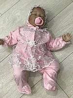 """Набор на выписку для девочки """"Мальвина"""" розовый с белым - 56р."""