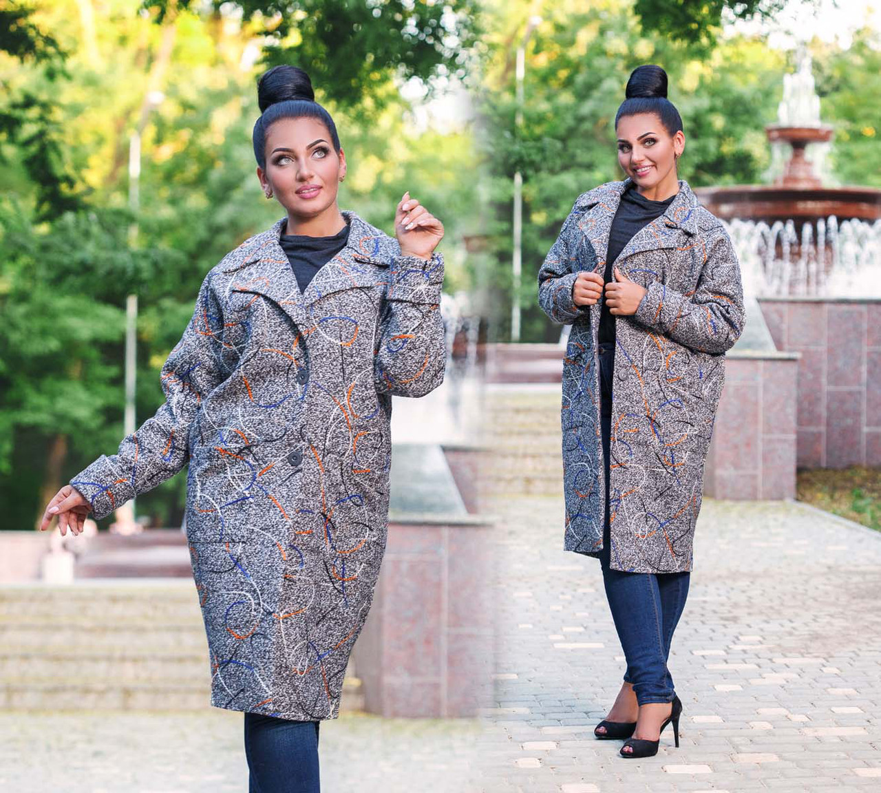 """Елегантне пальто жіноче демисезон у великих розмірах 495-1 """"Букле Абстракція Овер Міді"""""""