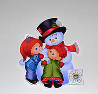 Наклейка Снеговик и дети