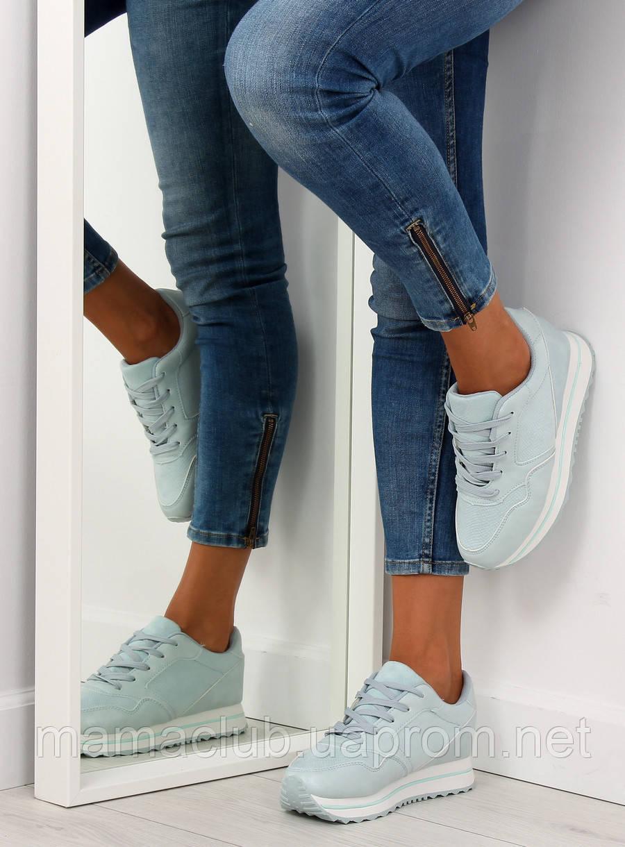 Голубые спортивные женские кроссовки