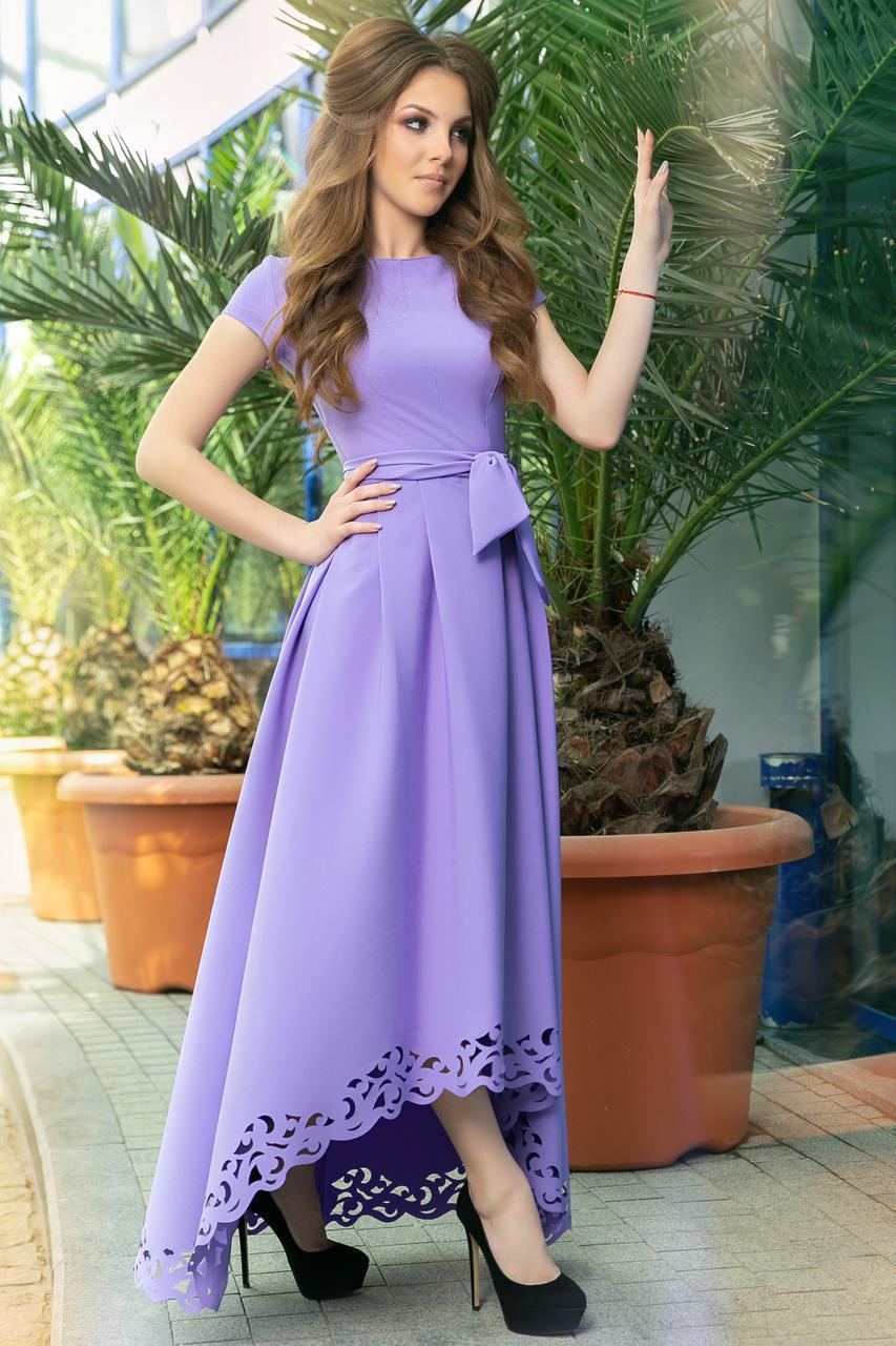 d5393439da2 Асимметричное Платье с Перфорацией. Лаванда