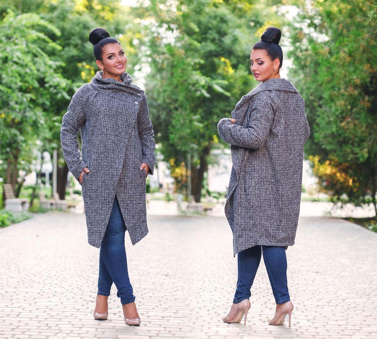 """Женский стильный кардиган-пальто в больших размерах 41119 """"Рогожка Углы Кармашки Миди"""""""