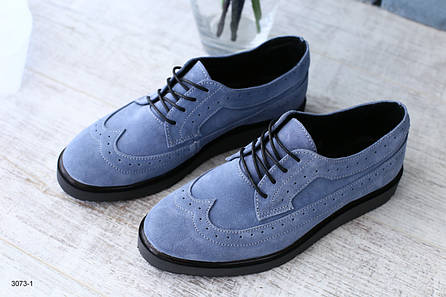 Женские синие туфли  на шнурках