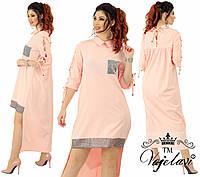 Длинное прямое платье со шнурками. Персик, 4 цвета. Р-ры:48,50,52,54.
