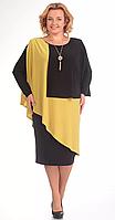 Платье Pretty-36/1 белорусский трикотаж, черно-желтый, 54