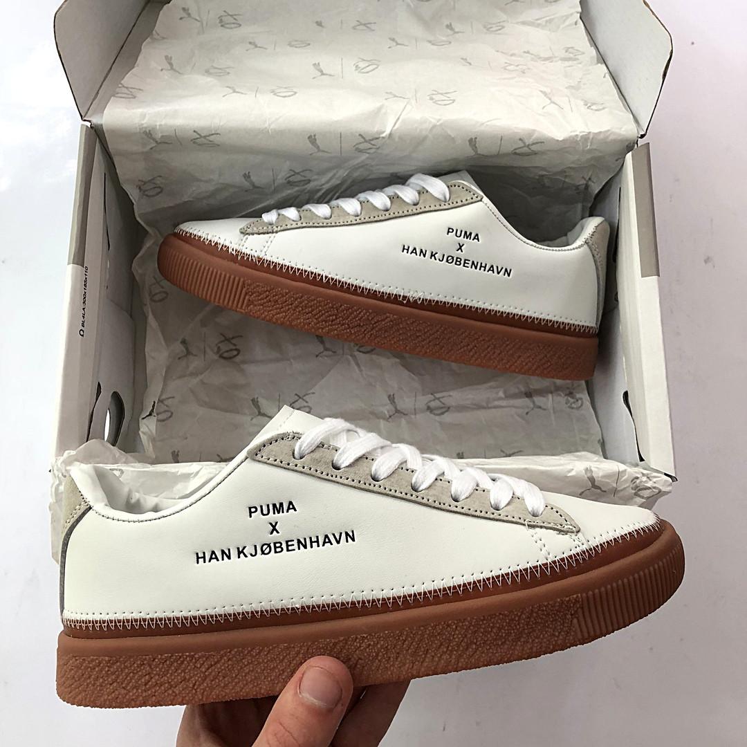 buy popular 48781 10f6a Женские кроссовки Puma x Han Kjobenhavn Clyde Stitch Кожаные белые (  реплика )