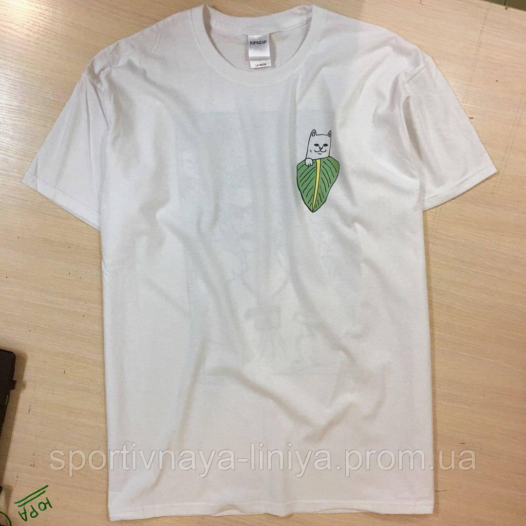Мужская белая футболка Ripndip унисекс Реплика