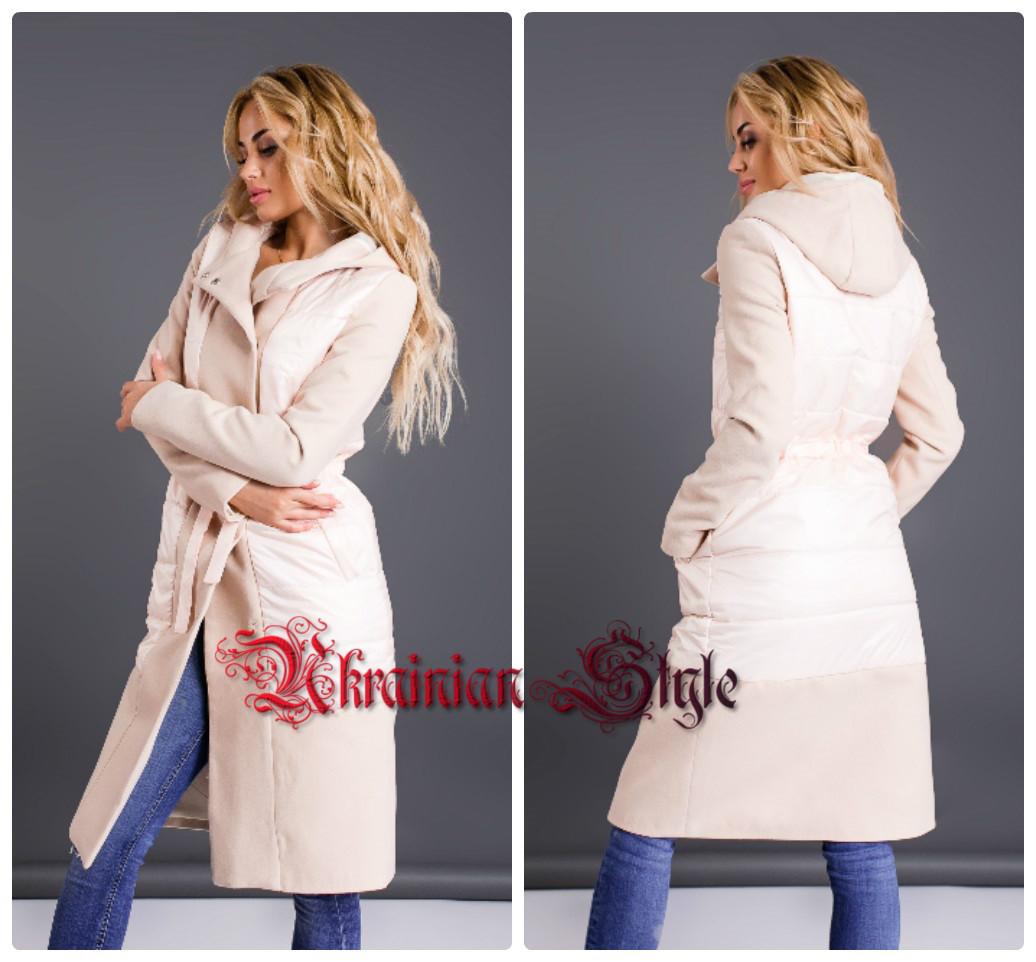 257efe5dca60 Демисезонное женское комбинированное пальто с капюшоном. Цвета!: продажа,  цена в ...