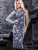 Вязаное женское платье под горло (2387 svt)