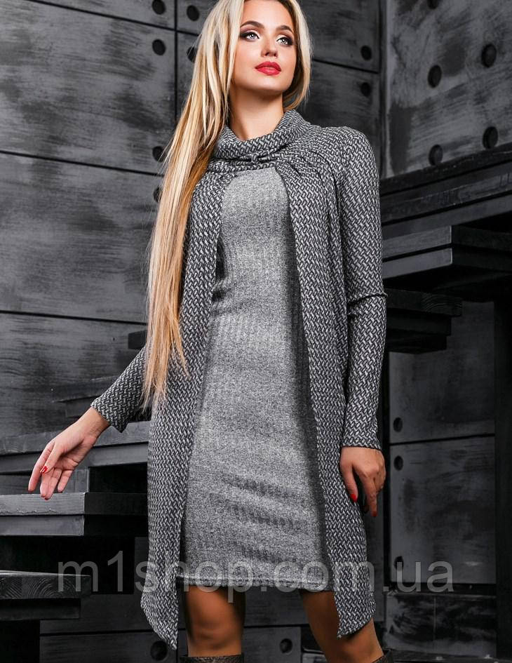 Женское вязаное платье с накидкой (2389 svt)