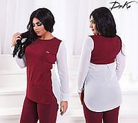 Рубашка женская удлиненная сзади длинный рукав трикотаж+креп-шифон  размеры:42-44.46-48.50-52