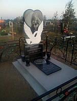 Памятник лебедь сердце, купить заказать в Симферополе и Крыму. Изготовление надгробий в наличии и под заказ, фото 1