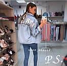 Куртка джинсовая на спине с надписью нашивкой, фото 3