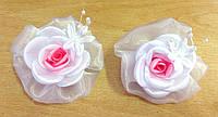 Банты ручной работы, белая роза, диаметр 7,5 см