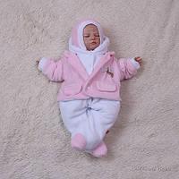 Велюровый человечек для новорожденных Little beauty (розовый)