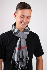 Серый мужской шарф в клетку