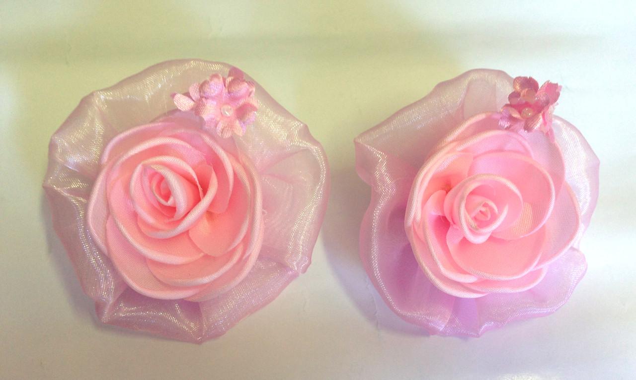 Банты ручной работы на резинке, розовая роза, диаметр 7,5 см