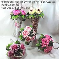 """Небольшой  букет из роз и конфет""""Зонтик""""№5, фото 1"""