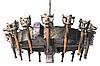 """Деревянная люстра  """"Факел Римский"""" кольцо состаренная светлая на 12 ламп, фото 6"""