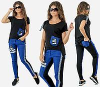 Спортивный костюм с джинсом. Чёрный, 3 цвета. Р-ры: 42,44,46.