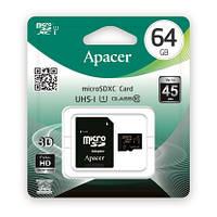 Карта памяти Apacer microSDHC 64GB UHS-I U1 CLASS 10 (AP64GMCSX10U1-R) + SD адаптер, фото 1
